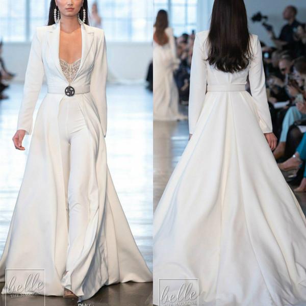 2020 Berta White Jumpsuits Long Sleeve Satin Wedding Dresses With Long Jackets Plus Size robes de soirée Pants Suits Party Bridal Dresses
