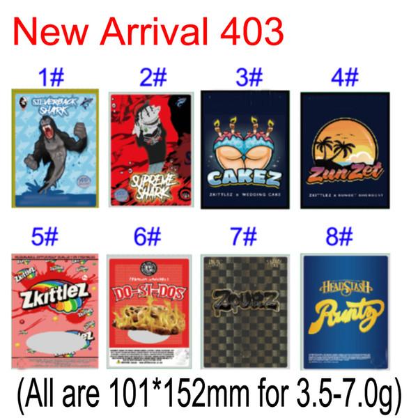 top popular New Sharklato SilverBack Shark Cakez Zunzet Zkittlez Dosidos Black Zourz Headstash Runtz Smell Proof Packaging Bags For Dry Herb Flowers 2020