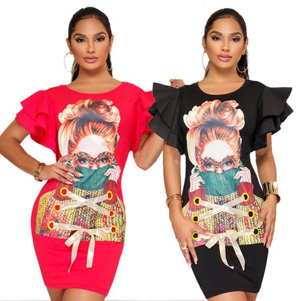 Casual Large Size Women 3D Printing T Shirt Dress Hip Dress Cuff Straps Flounces Petal Sleeve K9132 Color Black Size S-XXL