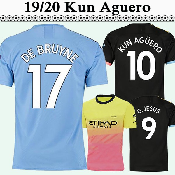 2019 2020 KUN AGUERO DE BRUYNE Mens Soccer Jerseys New STERLING SILVA Home Blue Away Football Shirts G. JESUS SANE Shorts Sleeve Uniforms