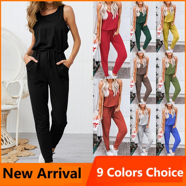 Summer Sexy Women Clubwear Playsuit Bodysuit Party Rompers Womens Jumpsuit black Sleeveless Casual Ladies Long Loose Trousers