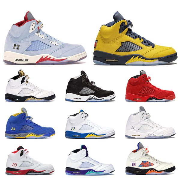 2019 Basketball Shoes PSG white Laney white Ice Blue Michigan 6 Desert Camo 5 5s sport Sneaker trainers Size 7-13