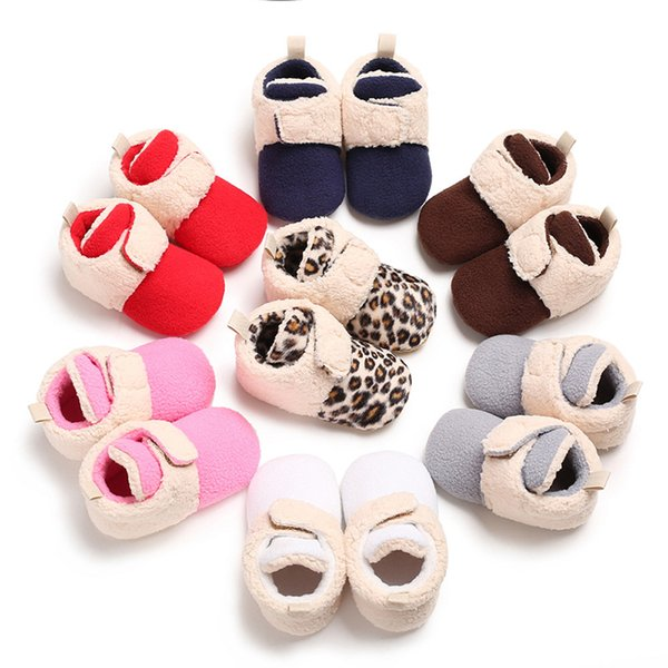 Newborn Crib Soft Sole Shoe Baby Girl Boy Soft Booties Multi Color Splicing Snow Boots Toddler Warm Hook Loop Shoes Winter 2018