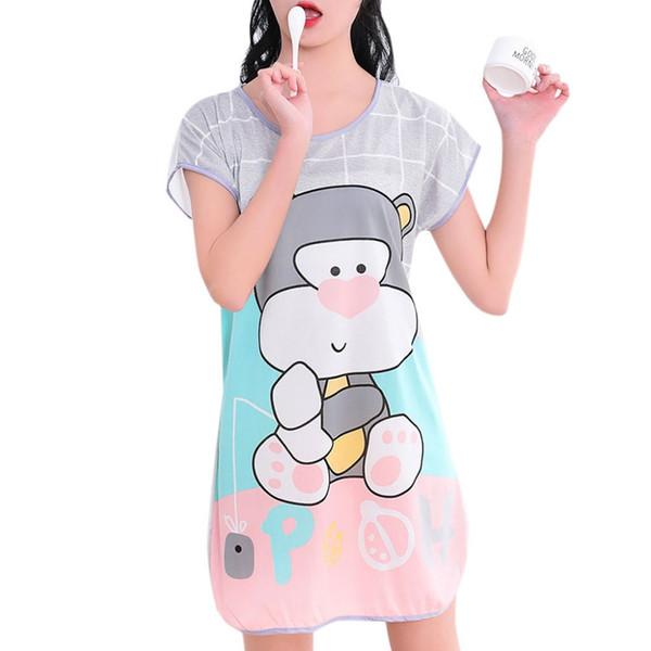 2018 новых женщины с короткого рукавом сна платье мультфильм Pattern Printed Плюс Размер ночной рубашки Крупногабаритного Nightdress Young Girl Night