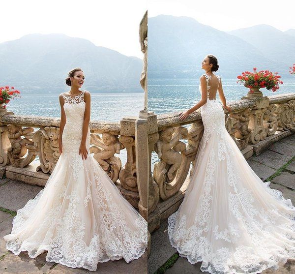 Sexy Plus Size Vintage Backless Wedding Dresses 2019 Sheer Neck Tulle Mermaid Court Train Bridal Gowns Customized DH176