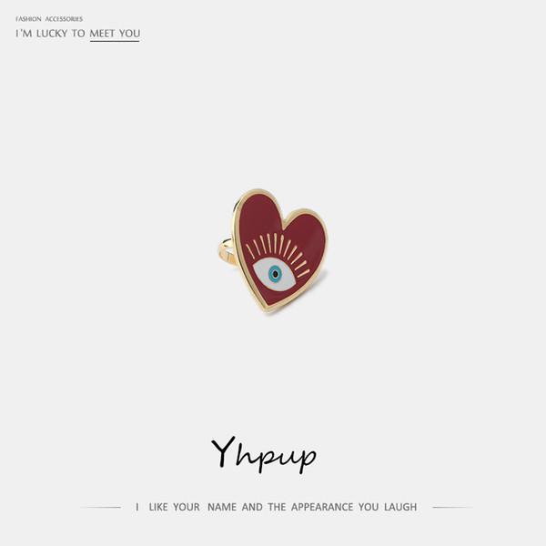Yhpup Trendy Red Enamel Sweet Romantic Heart Geometric Rings Fatima Eye Rings Accesorios para niña Fiesta de cumpleaños Joyería Regalo