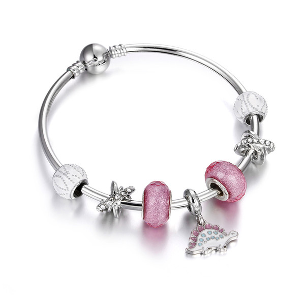 Silver Plated Charm Bracelet For Women Fashion DIY Glass  Jewelry  Love Bracelets and Bangles pulseira