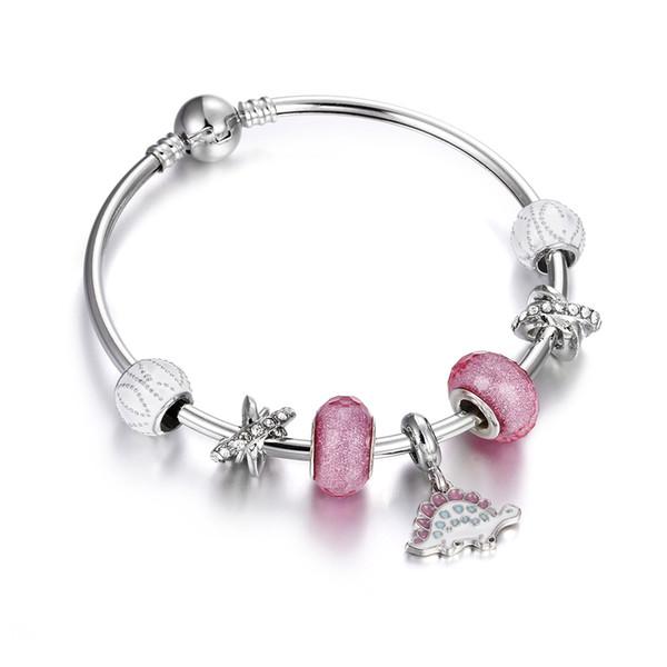 Braccialetto di fascino placcato argento di lusso per le donne Moda fai da te perline di vetro gioielli marca famosa amore bracciali e braccialetti pulseira