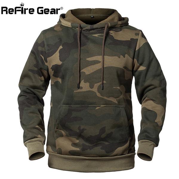 5e12dc308b4 ReFire Gear Модные пуловеры с капюшоном с капюшоном для мужчин в стиле  милитари флисовая куртка с