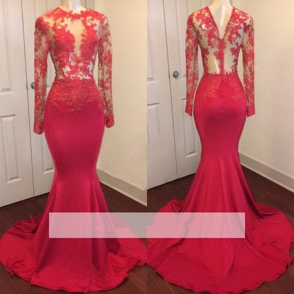 Mermaid Long Sleeve Prom Dresses 2019 Sexy Sheer Bodice Jewel Neckline Bead Lace Formal Evening Gowns See Through Cocktail Party Ball Dress
