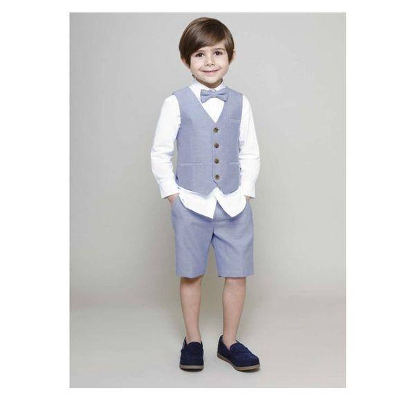 Blue Boy Vest Set Four Boutton Gentlemen Kids Formal Wear Tuxedos Wedding Suits Ring Bearer Suit Vests (short+vest)