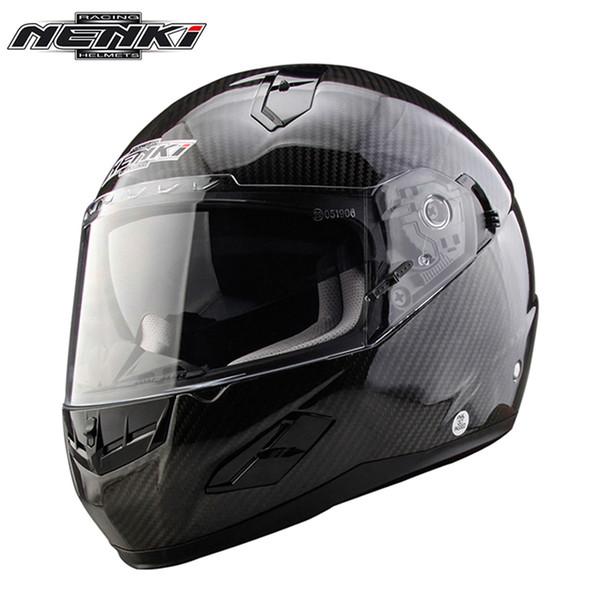 Casco de moto de fibra de carbono NENKI para hombre Casco integral de moto Calle Capacete Racing Casco Moto Visor doble DOT