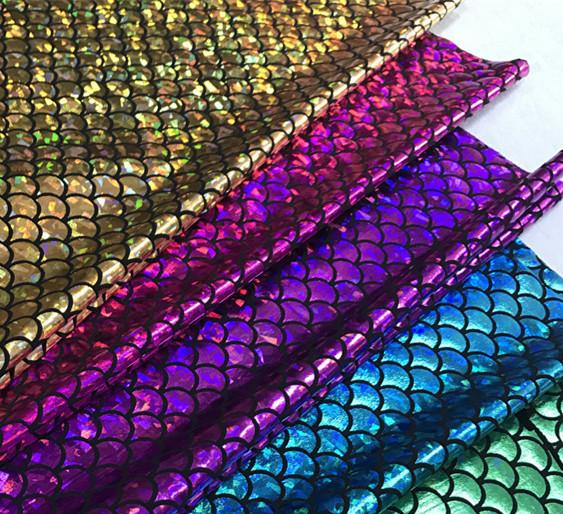 150*50cm Sparkly Scale Fabric 2019 Spandex 2 Way Stretch fabric for skirt tail swimwear stage cosplay costume Dress