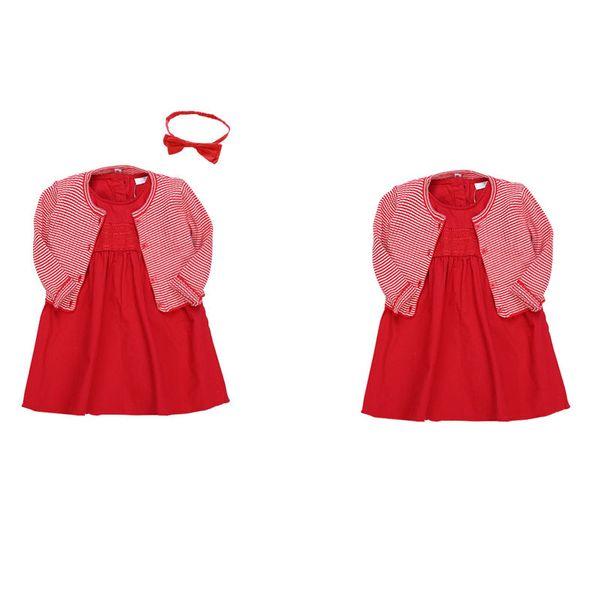 Bebek Kız Elbise Katı Fırfır Örgü Hırka Ceket Bandı Ile Kırmızı Elbise Bebek Kız Giysi Tasarımcısı Çocuklar Giysi Tasarımcısı Kızlar 07