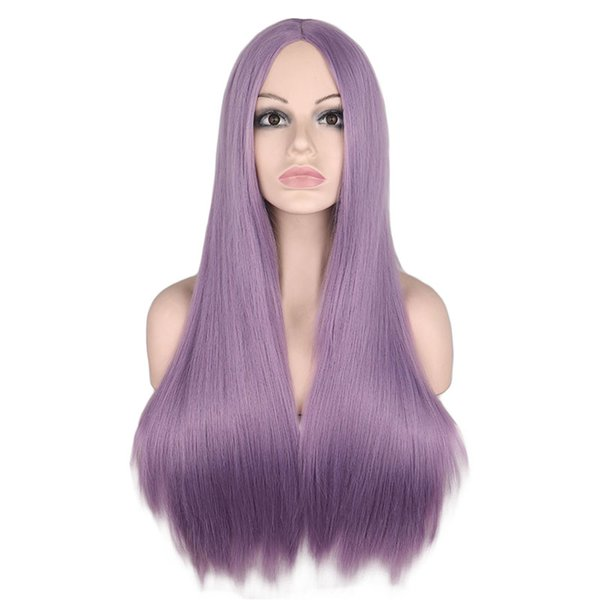 9 Colors Long Straight Middle Part Wig For Women Black White Pink Orange Purple Gray Hair Heat Resistant Synthetic Hair Wigs