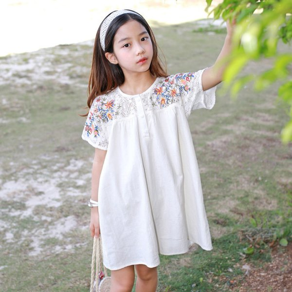 75eead67cd Kids colorful floral embroidery princess dress girls round collar short  sleeve beach holiday dress mommy and me matching outfits F5602