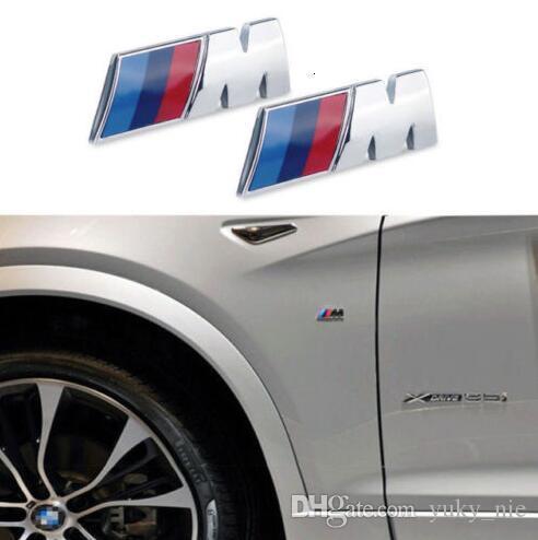 20pcs / lot alta calidad M-Sport de BMW cromo del coche Placa Emblema del ala engomada del logotipo de 45mm