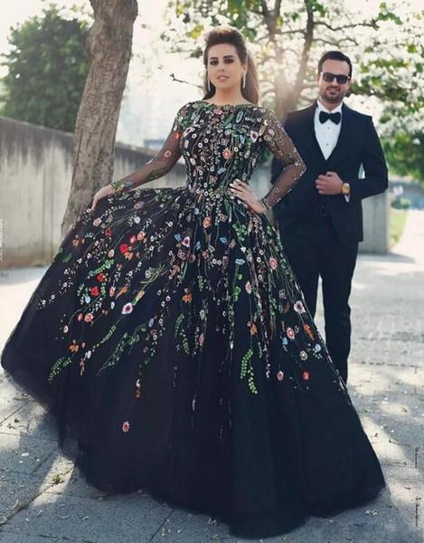 Compre Sexy Flor Negro Vestido De Fiesta Vestido De Gala Noche Formal Bateau Ilusión Manga Larga V Sin Respaldo Plisado De Longitud Completa Barato