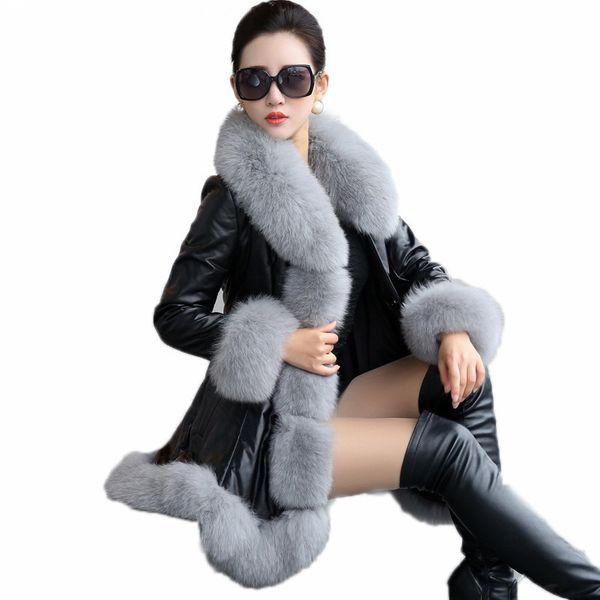 Veste en cuir des femmes2018Warm Winter Jacket 6XL Plus la taille en cuir PU manteau en fausse fourrure long synthétique manteau col de fourrure de renard femme