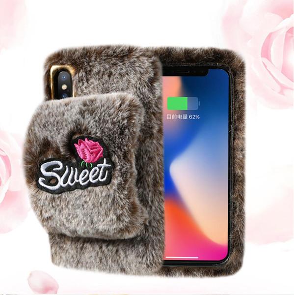 Moda de luxo cabelo de coelho de pelúcia casos de telefone celular de pele para iphone xs max xr x escudo móvel inverno quente capa mole para as mulheres saco de opp