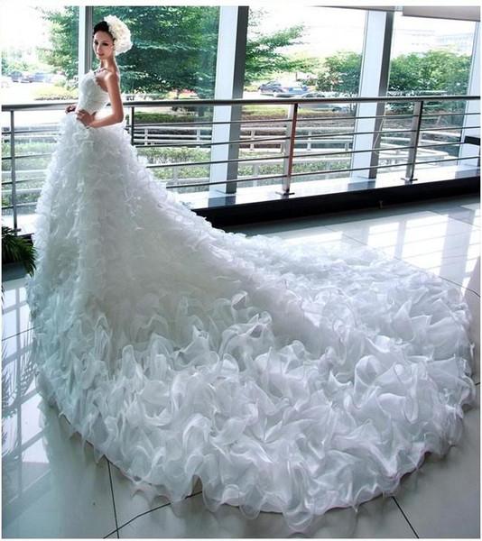 2017 Beautiful Mermaid Princess Bride Fashion Models Big Fluffy TailL Long Tail Wedding Dress Bridal Gown