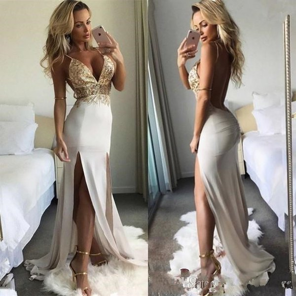 Sexy Cutaway Two Sides Split Prom Evening Dresses 2019 Spaghetti Straps Open Back Long Satin Party Gowns Cheap