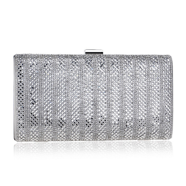 Dazzling Dazzling Silver Crystal Women Evening Clutch Box Hand Bag Metal Bridal Rhinestones Shoulder Handbag Wedding Clutches Purse