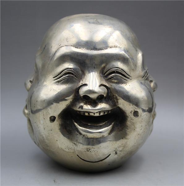 Coleção Budismo Tibetano prata esculpida à mão estátua de Buda de quatro faces