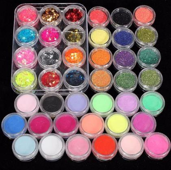 Professional 42 Acrylic Nail Art Tips Powder Liquid Brush Glitter Clipper Primer File Set Brush Tools New Nail Art Decoration