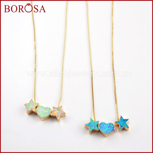 Großhandel 3 STÜCKE 17 zoll Herz Doppel Sterne Gold Farbe Weiß / Blau Japanese Opal Perlen Anhänger Halskette Frauen Druzy Schmuck G1574