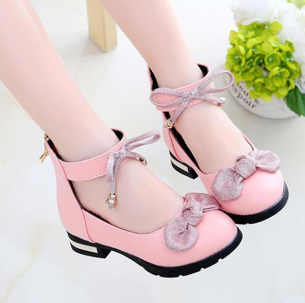 Kızlar tek ayakkabı yeni çocuk deri ayakkabı yay prenses büyük çocuk öğrencilerin performans parti sneakers