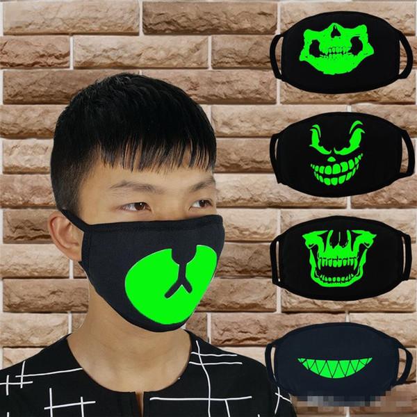 Black Luminous Face Mask Skeleton Riding Couple Anti Dust Fashion Personality Teeth Glow Mouth Mask dark in night halloween cosplay K0183