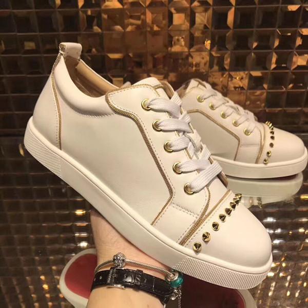 Düşük üst kırmızı alt sneakers erkekler için lüks siyah deri moda casual erkek bayan ayakkabı tasarımcısı nedensel ayakkabı Toptan boyutu 35-47
