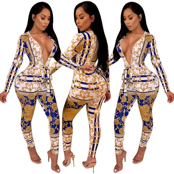 Free Ship Women Sexy Deep v-neck Glod Chain Printed Jumpsuit Romper High Waist Bodycon Long Playsuit Club Outfit