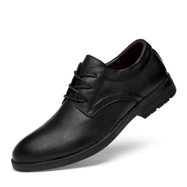 Oxfords erkekler örgün ayakkabı grnuine deri inek erkek parti elbise ayakkabı rahat en kaliteli erkek katı siyah boy ...
