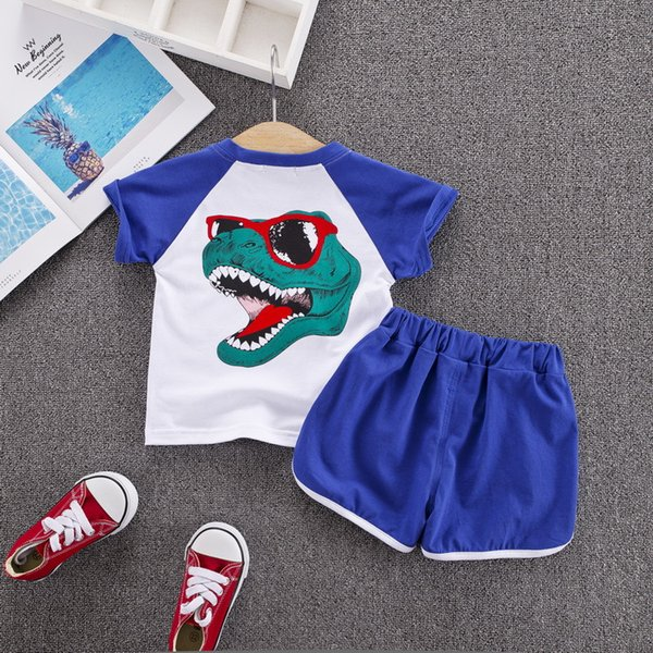 Kids Designer Clothes Set Dinosaur Cartoon Cat Animation Children's Top Tees Short Boy Girl Two-pieces Printed 2019 Luxury Child Clothing