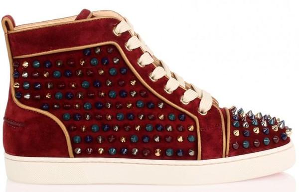 Terciopelo granate Hi Top tachonado Spikes planos ocasionales rojos Zapatos de lujo de fondo para los hombres y las mujeres del partido de diseño zapatillas de deporte de los amantes del cuero auténtico