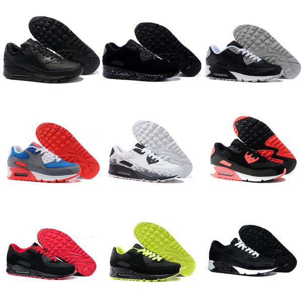 Nuova donna degli uomini calza gli uomini e le donne scarpe da corsa Nero Rosso Bianco Sport Trainer Air pattini dell'ammortizzatore di superficie sport respirabili 36-46 classici
