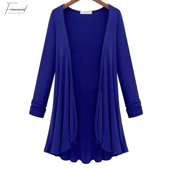 Sonbahar İlkbahar Moda Kadınlar Casual fırfır etek boyu Katı Renk Gevşek Coat Plus Size Damla Nakliye