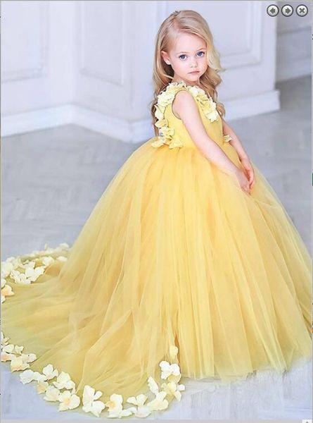 Sin tirantes 3D Floral vestido de las muchachas lindas Puffy tren de tul vestido de niña de flores Vestidos hermosos para la flor de la niña los niños del banquete de boda desgaste