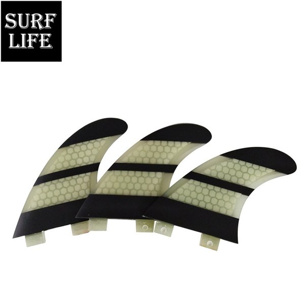 Cheap FCS model fiberglass honeycomb non-carbon Tri fin set G5 size medium surfing thruster surfboard fins for surfboards, SUP boards