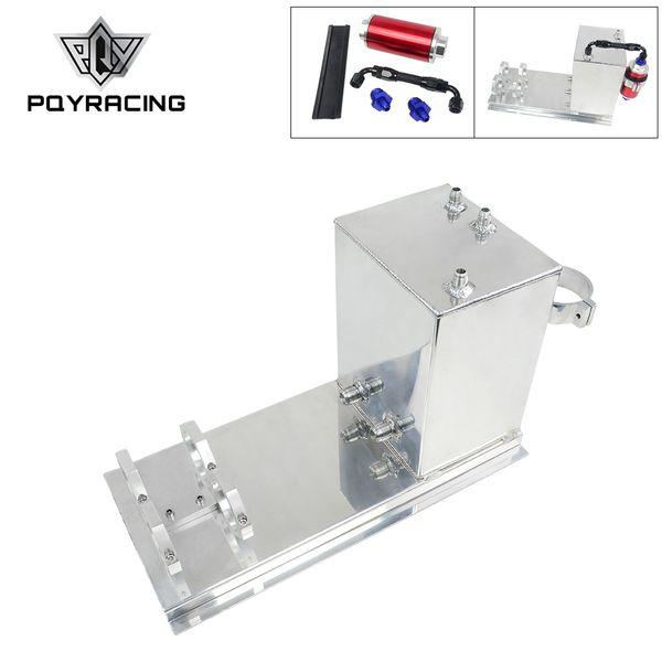 PQY RACING - 5L Aluminum fuel surge tank/fuel tank/fuel cell 5L polished AN fittings + pump mount + filter + hose PQY-TK45