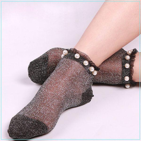 Sexy Women Ankle Socks Summer Autumn Transparent Glitter Mesh Soft Elasticity Gauze 2017 Hot Crystal Fishnet Socks Q190429
