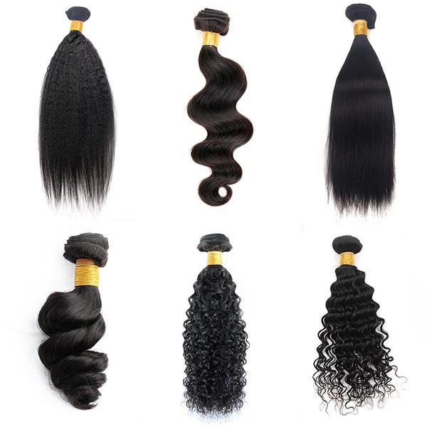 Musi Human Hair 3 Bundles 8-28 inch Brazilian Virgin Remy Human Hair Loose Wave Yaki Straight Deep Curly Body Wave Straight Color 1B Black