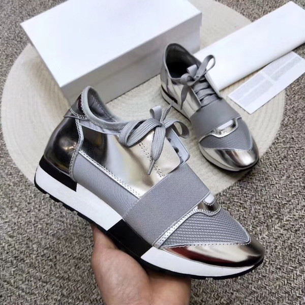 2019Fashion luxury Designer Sneaker Man Woman Casual Shoes Genuine Leather Mesh pointed toe Race Runner US5-12