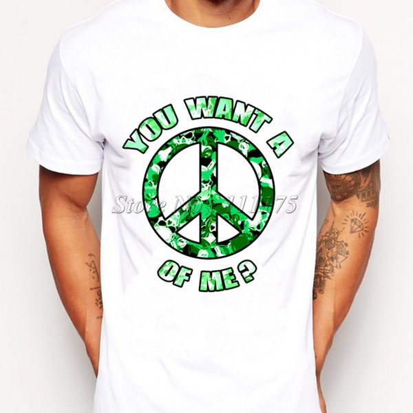 2019 Newest Men Fashion Peace of me Design T shirt Novelty Designer Tops Gentleman Custom Printed Short Sleeve Tees