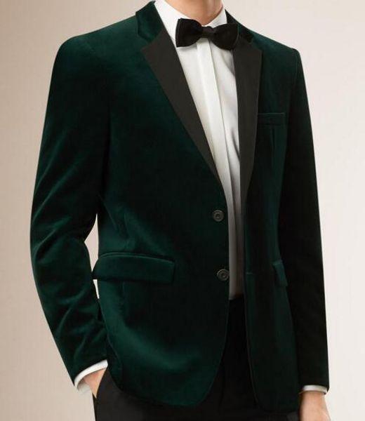 Customize Green Velvet Groom Tuxedos Notch Lapel Groomsmen Wedding Dress Autumn Winter Style Men Formal Party Prom Suit(Jacket+Pants+Tie)81