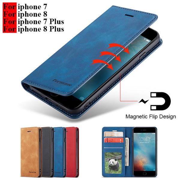 Pour iphone 8 cas Flip magnétique cas de téléphone sur Hoesje iphone 7 8 Plus cas en cuir Couverture de portefeuille pour I phone 7 8 Plus cas Apple