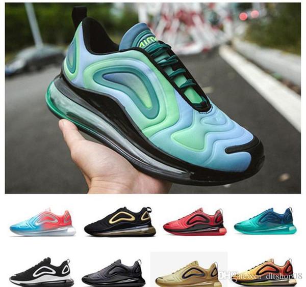 nike air Vapormax max 720 Off white Flyknit Utilit Homens de Neon Triplo Preto Carbono Cinza Pôr Do Sol de Prata Metálico Chaussures Running Shoes EUR Tamanho 36-45