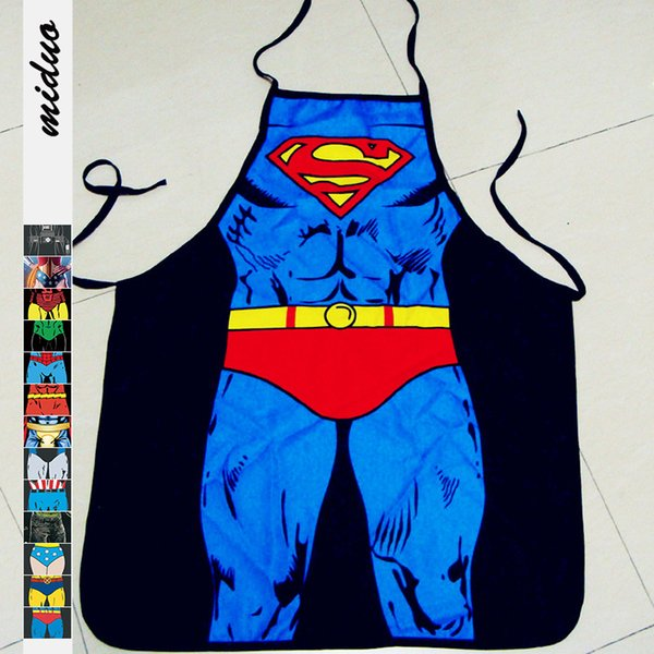 Avental de super-heróis Cozinhar Cozinha Bonito Dos Desenhos Animados À Prova D 'Água 3D Impressão Sexy House-keeping Aventais Engraçado Superman Grooming VT0075